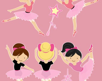 Ballerinas Ballet Removable Repositionable Fabric Wall Decal Stickers 7 Piece Set