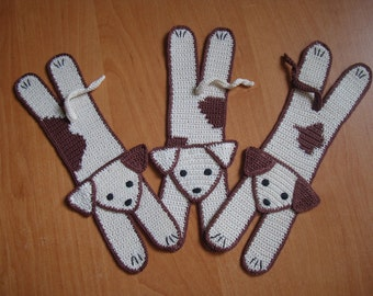 Toby and his friends, cream and brown dog bookmark | handmade crochet knit