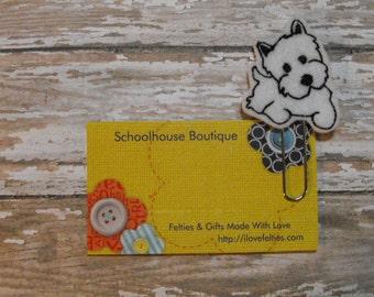 White Terrier Dog felt paperclip bookmark, felt bookmark, paperclip bookmark, feltie paperclip, christmas gift, teacher gift