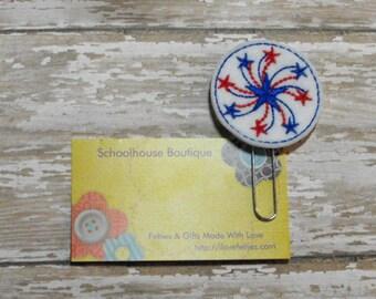 Spinning Stars Firework felt paperclip bookmark, felt bookmark, paperclip bookmark, feltie paperclip, christmas gift, teacher gift