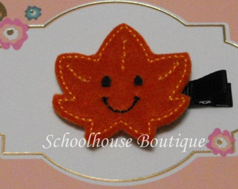 Smiling Happy Leaf Felt Hair Clips - Felties - Feltie Hair Clip - Felt Hair Clip - Felt Hair Clippie - party favor