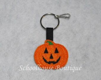 Pumpkin Felt Zipper Pull, Felt Keychain Fob, Felt Key Ring, Felt Key Fob, Purse Accessory, Luggage Tag