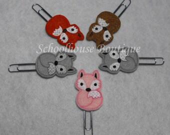 Fox felt Paperclip bookmark, planner feltie, planner clip, felt bookmark, paperclip bookmark, feltie paperclip, christmas gift, teacher gift