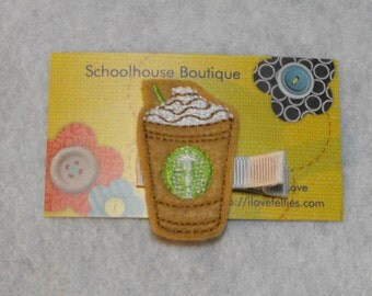 Chocolate Chip Frappe Coffee Felt Hair Clips, Felties, Feltie Hair Clip, Felt Hairbow, Felt Hair Clip, Felt Hair Clippie, Party Favor