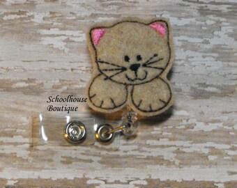 Tan Kitty Cat felt badge reel, name badge holder, nurse badge, ID holder, badge reel, retractable badge clip, feltie badge reel