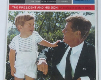 December 1963 LOOK Magazine-President Kennedy & His Son Private Lives Picture Story-Collectible Book