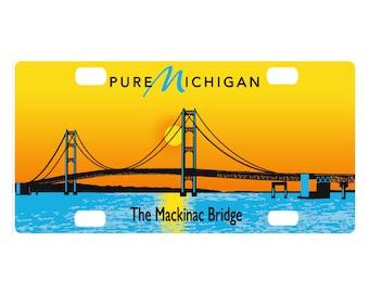Custom, personalized state license plate - Michigan Mackinac Bridge - free shipping