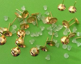 100 pcs 8 mm Golden Earring Post with rubber ear back,golden earring post,golden finding,8 mm golden earring blank,ear nut,golden ear stud
