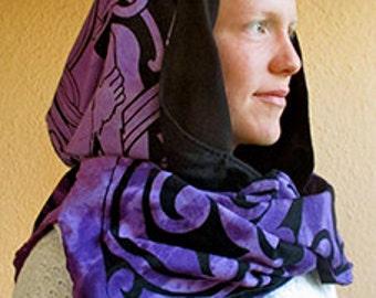 Romantic Celtic Hood Scarf Reversible Cotton Fantasy Cowl Hoodie Shawl