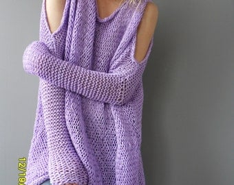 Oversize chunky women sweater. Slouchy/Bulky /Loose knit tunic/dress. Spring/Summer knit.