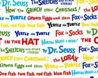 Patchwork Quilting Fabric Robert Kaufman - ADE-10789-203 - Dr Seuss - Cat in the Hat