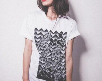 Feather Hills t-shirt. Birds t-shirt. Feathers Tee Birds tshirt women's graphic tee Organic T-shirt Womens tee Shirt Birds print birds tee