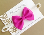 Pink Leather Bow Headband/Hair Clip, Birthday Bow, Pink and White Bow, Sparkle Bow, White glitter sparkle headband by Ruby Lovely Shop