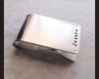Personalized Money Clip for Men - Aluminum Money Clip for Father - Hand Stamped Dad's Name - Custom Gift for Him - Unique Groomsman Gift