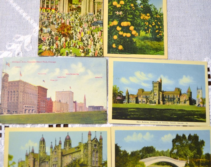 Vintage Postcard Set of 6 Canada Chicago Florida Various Travel Souvenirs PanchosPorch