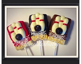 Bowling Chocolate - Bowling Pins and Bowling ball chocolate covered rice krispie treat pops set of 12