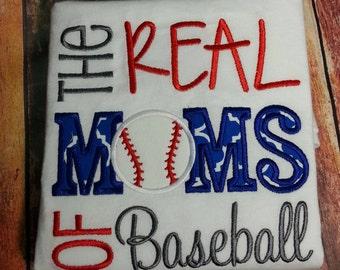 Real moms of baseball,  mom shirt. Embroidered mom baseball shirt