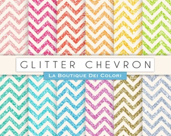 Glitter chevron digital paper. Gold and silver glitter digital papers: scrapbooking, printables, cards, Commercial Use. pink, blue.