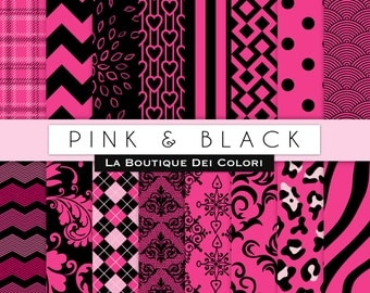 Pink and Black Digital paper, floral, zebra, argyle, leopard, polkadots, chevron, Geometric Patterns, Download for Commercial Use