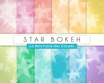 Colorful stars Bokeh digital paper. star digital papers: Bokeh background scrapbooking, printables, Commercial Use. pink blue red