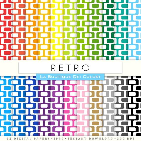 scrapbooking retro digital paper all colors 60s rainbow printable