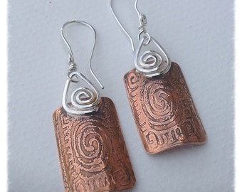 Upcycled etched copper and sterling silver earrings - lightweight dangling earrings   - rustic and earthy