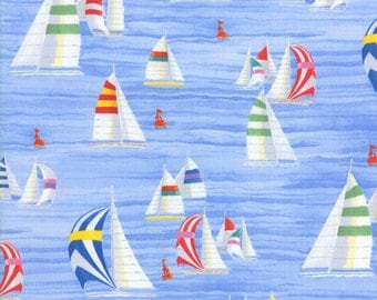 Half Yard Coastal Breeze - Sailboats in Sky Blue - Cotton Quilt Fabric - by Paul Brent for Moda Fabrics 39021-12 (W2722)