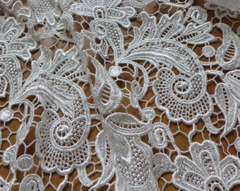 White Lace Fabric, Bridal Lace Fabric Trim, Guipure Hollowed Fabric, Wedding Dress Costume Supplies