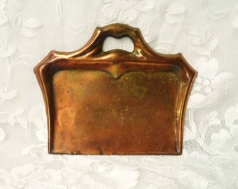 Copper Crumb Butler- Handled Crumb Tray- Old Crumb Catcher- Solid Copper with Nice Aged Patina- Silent Table Butler- Classy Table Helper