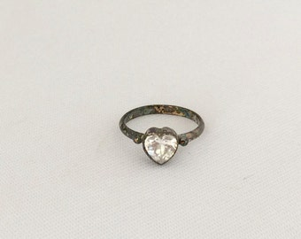 Vintage Sterling Silver White Topaz Heart Ring Size 6