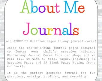 About Me Keepsake Journal, child journal, children's journal, kid's journal, girl journal, boy journal, parent child journal, notebook