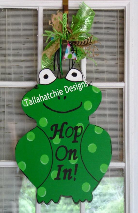 Classroom Decor Buy ~ Frog door hanger green wooden teacher