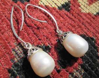 Freshwater Pearls and Ornate Sterling Dangle Earrings