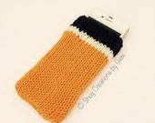 Orange stripy phone case, orange, white and black knitted phone cosy, phone sleeve, mobile accessories, gift for teachers, cell phone case