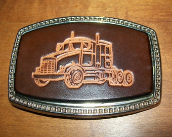 Handmade Leather Belt buckle Trucker Design