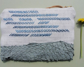 Fish skin and hessian purse with hand embroidery Limited Edition