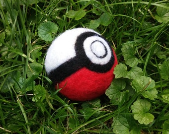 Pokémon ball, Handmade Wool Ball, Wet felted ball, Juggling Ball, Baby Toy, Cat Toy, Stress Ball, Made to Order
