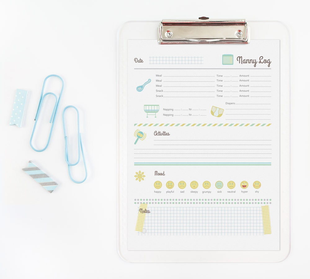 babysitter printable printable nanny log 1 year and older babysitter chart
