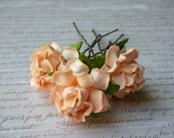 Pale Peach Rose Flower Hair Pins - Set of 3