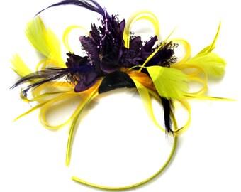 Bright Yellow & Dark Purple Feathers Fascinator on Headband