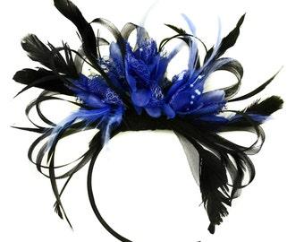 Black Hoop & Royal Blue Fascinator on Headband