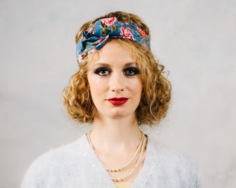 Baby blue floral Faux-Turban