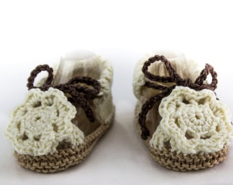Baby Girl Knit Summer Sandals, Baby Girl Sandals , Flower Sandals, Crochet Flower, Hand knit Baby Sandals, Summer Booties, 0-3 Months