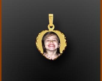 "14kt Gold Personalized Photo Pendant ""Heart Shape"" Small"