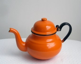 Vintage Orange Tea Pot