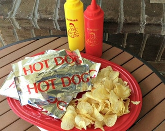 24 or 48 Printed Foil Hot Dog Bags, Cookout, Picnic, Tailgating, Carnival Party Supplies