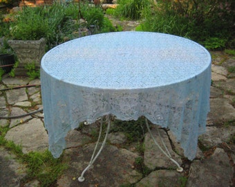 Light blue lace tablecloth, rectangle oblong lace tablecloth, Aqua tablecloth, 60s lace tablecloth