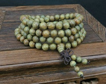 50% OFF Summer Sale | Green Sandalwood 108 Meditation Mala Bracelet | 6mm and 8mm | Mens and Womens Large Wood Jewelry | Yoga Zen Wrap