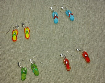 glass flip flop earrings