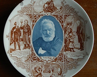 French commemorative antique  plate with the portrait of Victor HUGO. Manufacture of Sarreguemines circa 1880